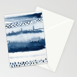 Beach Series Indigo Waves Watercolor Painting Stationery Cards