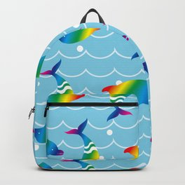 Rainbow Dolphins on the Sea Wave_E Backpack