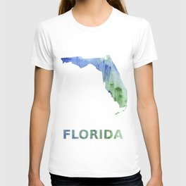 Florida map outline Blue-green watercolor painting T-shirt