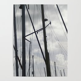 Yacht masts on cloudy sky Poster