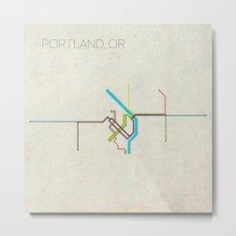 Minimal Portland, OR Metro Map Metal Print