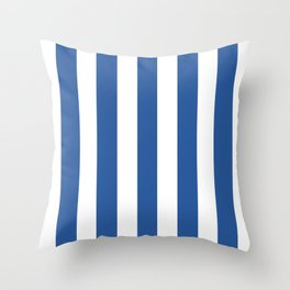 Cyan cobalt blue -  solid color - white vertical lines pattern Throw Pillow
