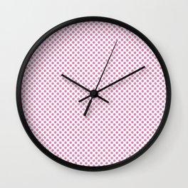 Fuchsia Pink Polka Dots Wall Clock