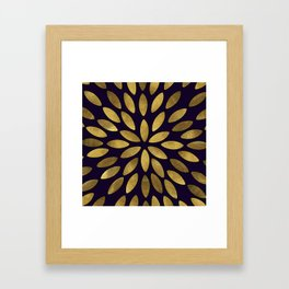Classic Golden Flower Leaves Pattern Framed Art Print