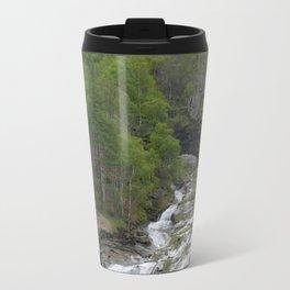 Waterfall at the Simplon Pass in the Swiss Alps Travel Mug