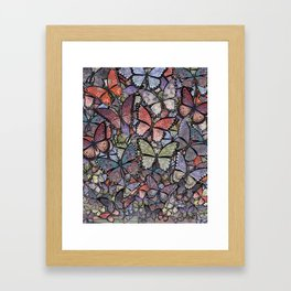 butterflies galore grunge version Framed Art Print