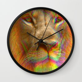 Psychedelic Glitch Trippy Lion Close-up Print Wall Clock