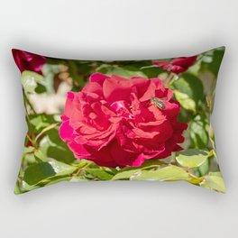 bee on rose Rectangular Pillow