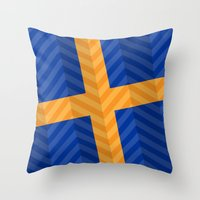 sweden Throw Pillows featuring Sweden Flag by m. arief (mochawalk)