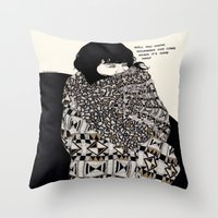 gorillaz Throw Pillows featuring Why You Wanted To Be ? by Kaethe Butcher
