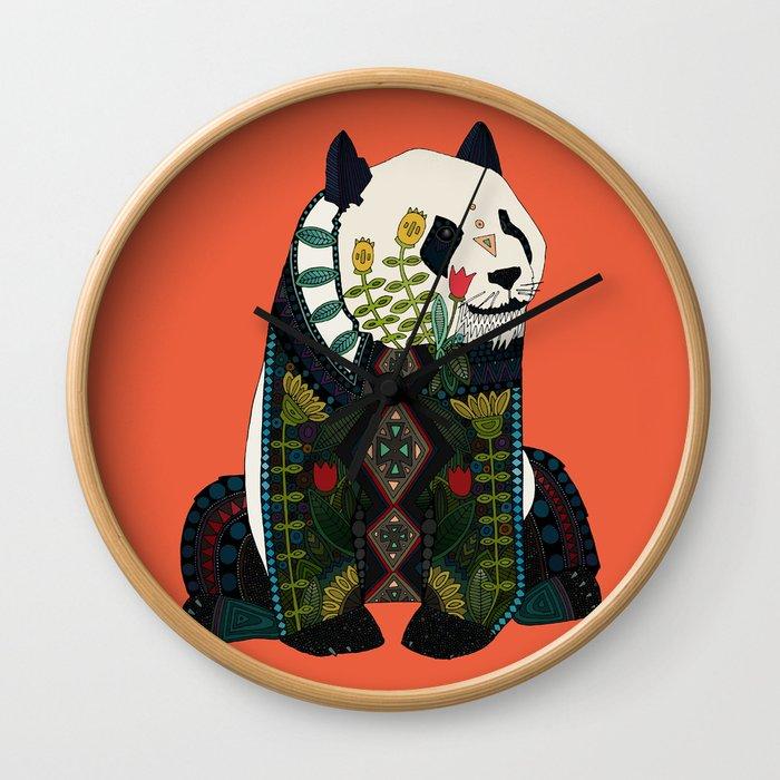 panda orange Wall Clock