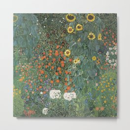 Gustav Klimt - Farm Garden with Sunflowers Metal Print