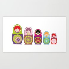 Kawaii Russian dolls Art Print