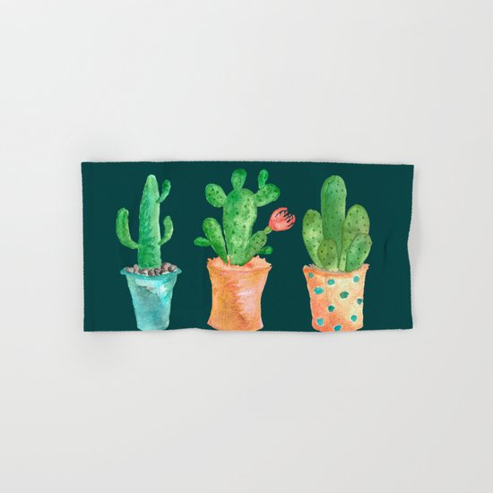 Three Green Cacti On Green Background Hand & Bath Towel