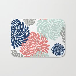 Floral, Chrysanthemums, Coral, Pink, Aqua, Navy, Blue Bath Mat