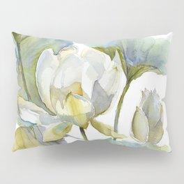 Lotus Plant and Fish Zen Design Watercolor Muted Pallet Botanical Art Pillow Sham
