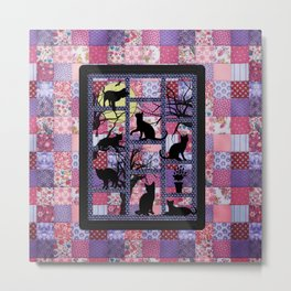 Night Cats on Patchwork Metal Print