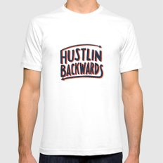 Hustlin Backwards Mens Fitted Tee White SMALL
