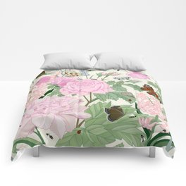 Pink flowers and butterflies Comforters