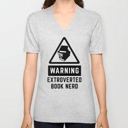 Warning: Extroverted Book Nerd Unisex V-Neck