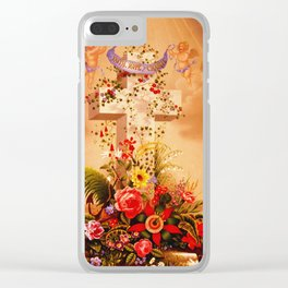 Faith Hope Charity - Christian Cross Clear iPhone Case
