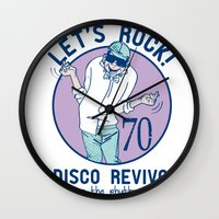disco Wall Clocks featuring Disco by Danilo De Donno