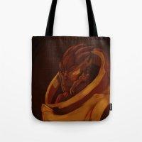 garrus Tote Bags featuring Garrus Vakarian Palette by xarilin