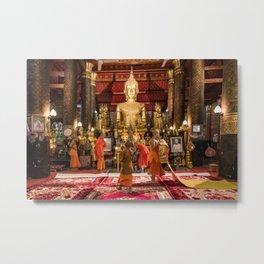Monks at Work in the Temple III - Luang Prabang, Laos Metal Print