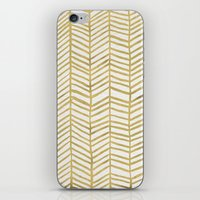 gold iPhone & iPod Skins featuring Gold Herringbone by Cat Coquillette