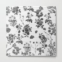 Black and White Floral on Stripes Metal Print