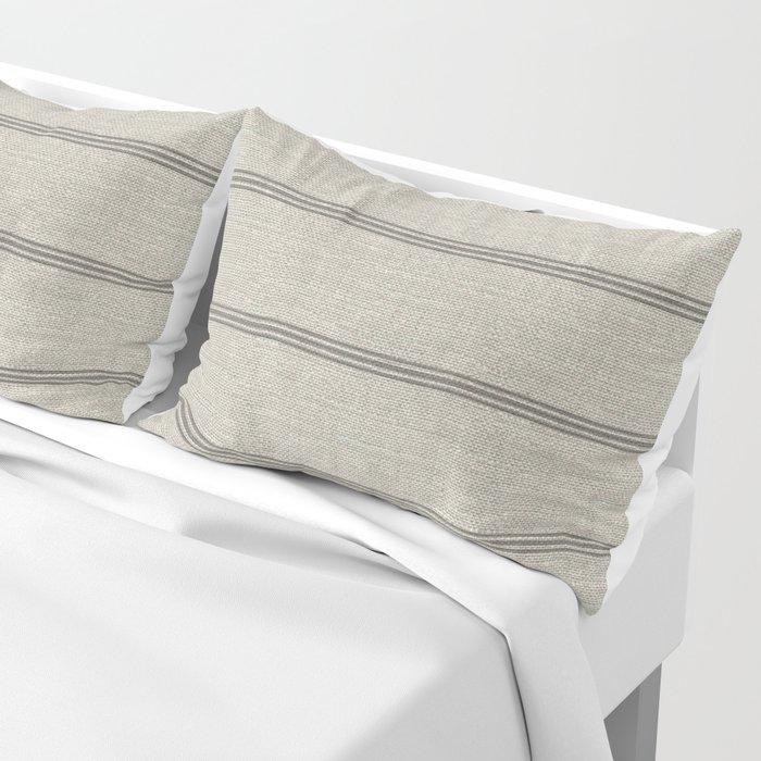 Farmhouse linen grey rustic grain sack texture vintage farmhouse lined linen design modern rustic Pillow Sham