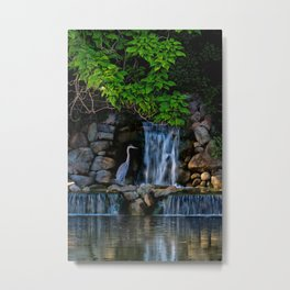 Blue Heron At River Waterfall Metal Print
