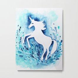 Unicorn Midnight Blue Watercolor Metal Print