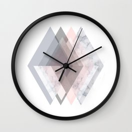 BLUSH MARBLE GRAY SCANDINAVIAN GEOMETRIC Wall Clock