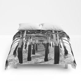 Balboa Pier Print {3 of 3} | Newport Beach Ocean Photography B&W Summer Sun Wave Art Comforters