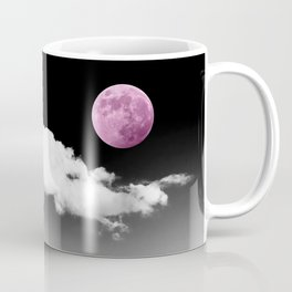 Black Desert Sky & Fuchsia Moon // Red Rock Canyon Las Vegas Mojave Lune Celestial Mountain Range Coffee Mug