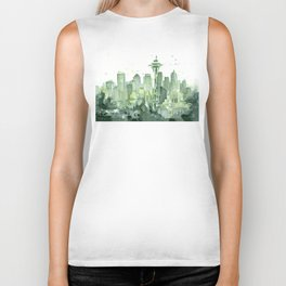 Seattle Watercolor Painting Biker Tank