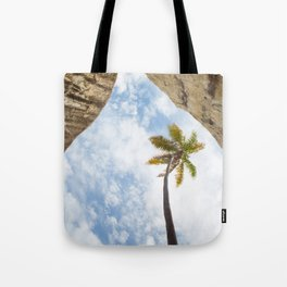 Virgin Gorda Batholithic Boulders and a Sunny Palm Tree Tote Bag