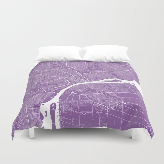 Detroit map lilac Duvet Cover