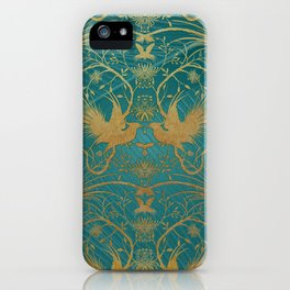 """""""Turquoise and Gold Paradise Birds"""" iPhone Case"""