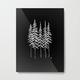 Five Trees (Black and White) Metal Print