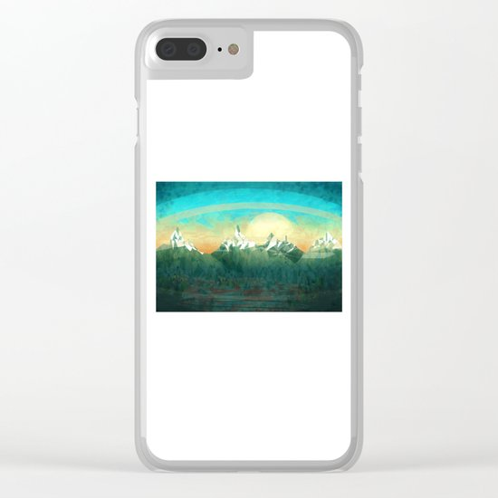 Mountains abowe the blue sky Clear iPhone Case
