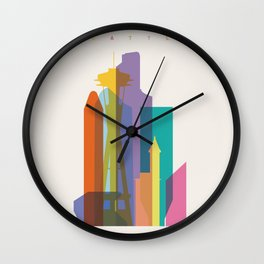 Shapes of Seattle accurate to scale Wall Clock