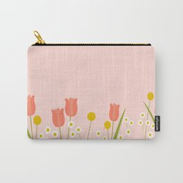 Pale Pink Light Orange Spring Flowers Carry-All Pouch