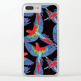 Rainforest Parrot Flock Toss Clear iPhone Case