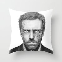house md Throw Pillows featuring House MD by Olechka