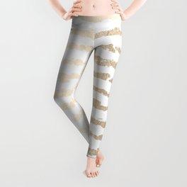 White Gold Sands Ink Stripes Leggings