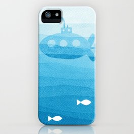 submarine, blue watercolor iPhone Case