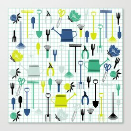 Cute Gardening Tools in green and blue Canvas Print