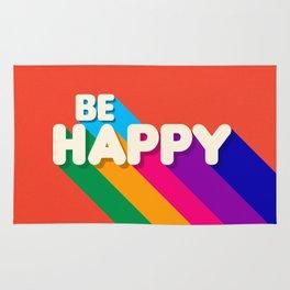 BE HAPPY - rainbow retro typography Rug
